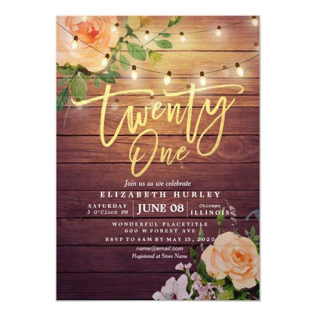 21 Birthday Party Rustic Wood Flowers String Light Invitation