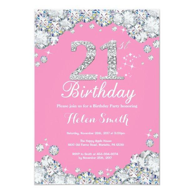 21st Birthday Invitation Pink And Silver Diamond