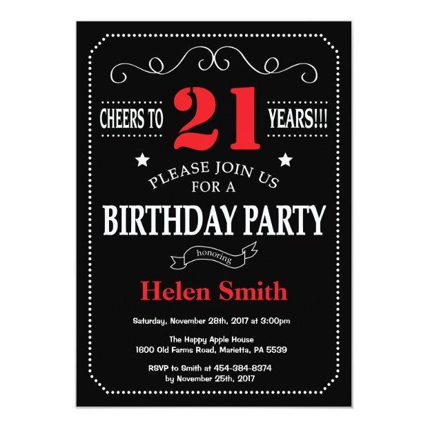 21st Birthday Invitation Red And Black Chalkboard