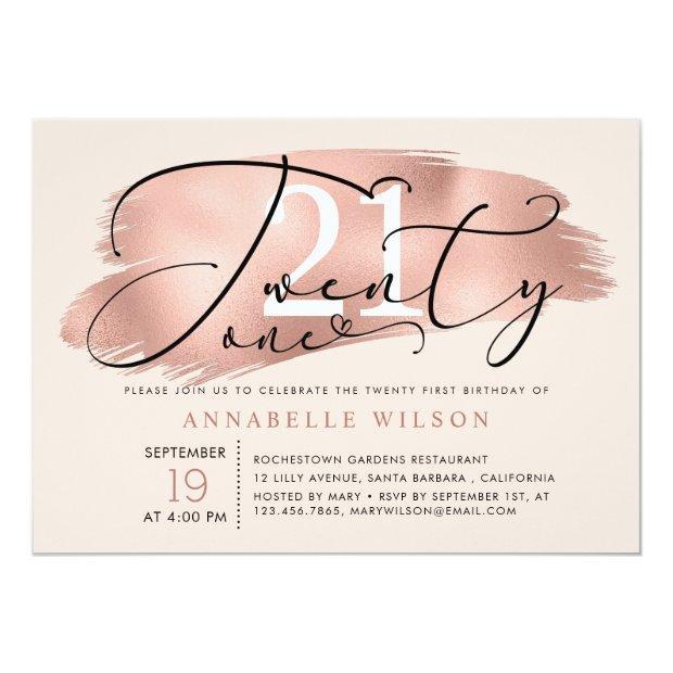 21st Birthday Party Rose Gold & Pink Photo Invitation