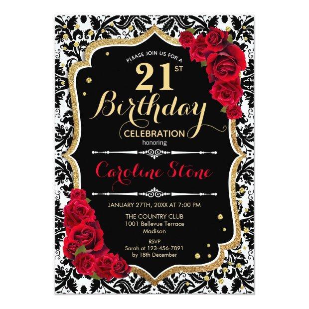 21st Birthday - Red Roses Gold Black Damask Invitation
