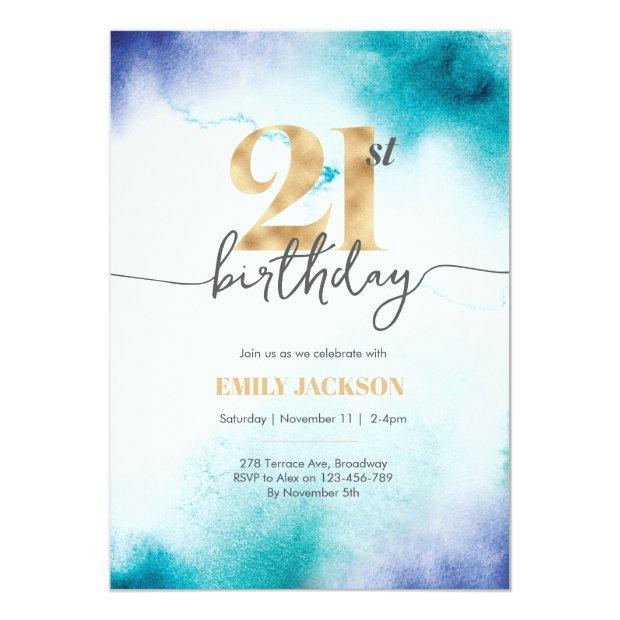 21st Birthday Turquoise Watercolor Gold Invitation