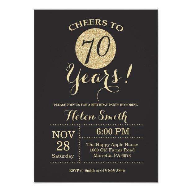 70th Birthday Invitations Black And Gold Glitter