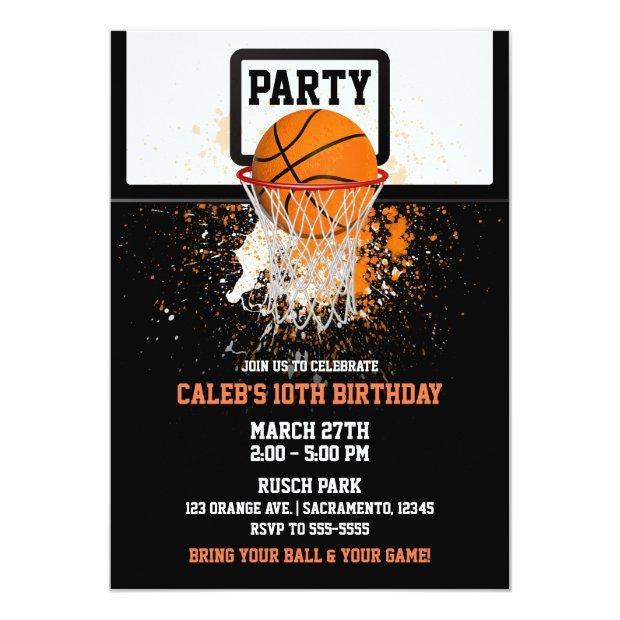 Basketball & Hoop Sports Birthday Party Invitations