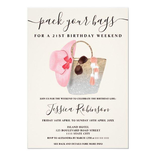 Beach Bag Birthday Silver Pink Glitter Weekend Invitation