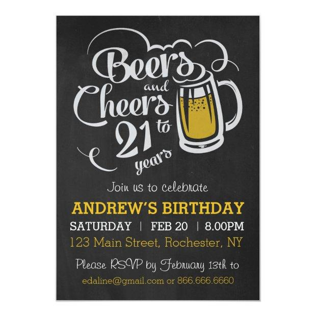 Beers And Cheers To 21 Years Birthday Invitation