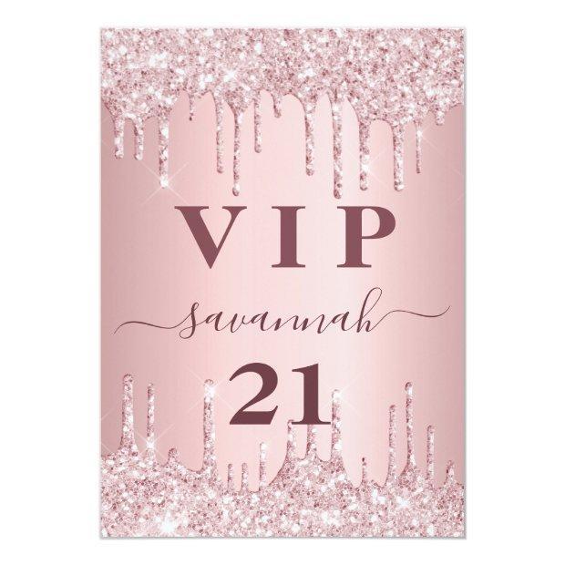 Birthday Blush Pink Glitter Drips Vip Invitation Badge
