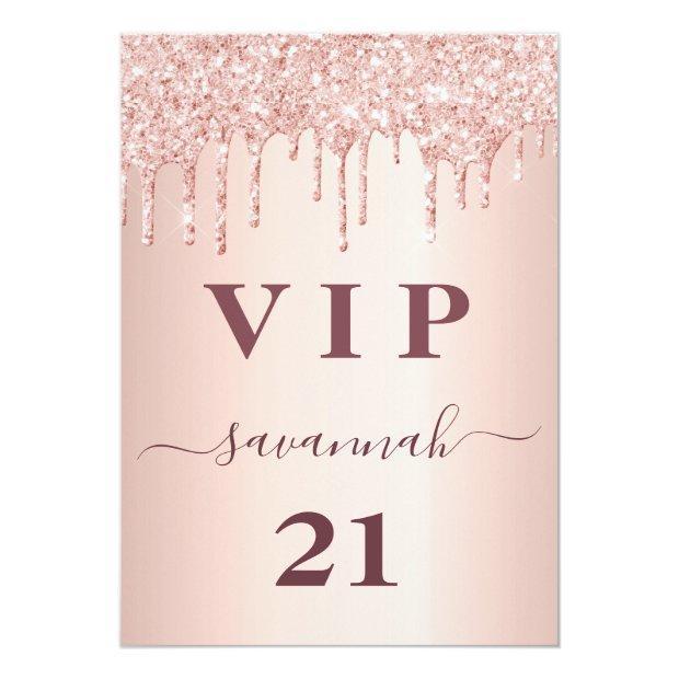 Birthday Rose Gold Glitter Drips Pink Glam Vip Badge
