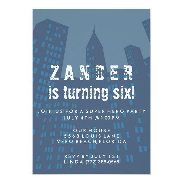 Boys Super Hero City Birthday Party Invitations