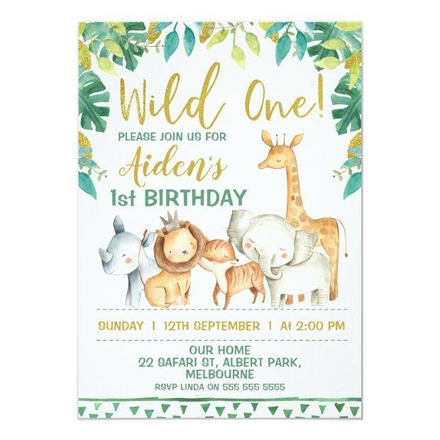 Boys Wild One Safari First Birthday Invitations