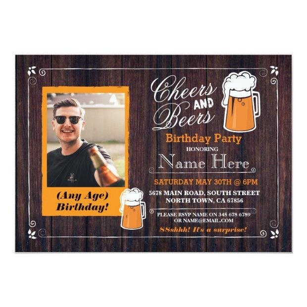 Cheers & Beers Birthday Party Beer Photo Invite 21