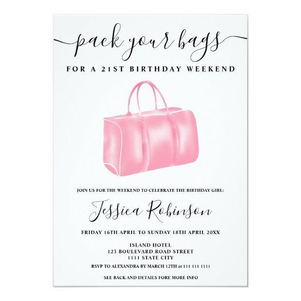 Chic Pink Watercolor Bag Birthday Program Weekend