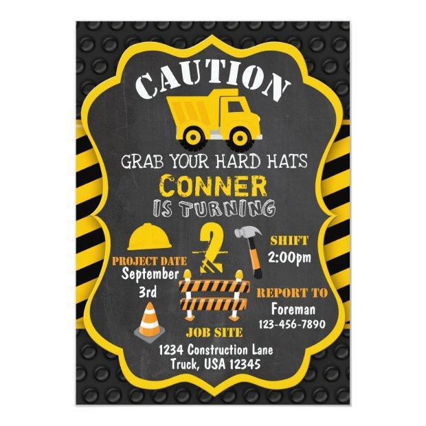 Construction Birthday Invitation | Dump Truck