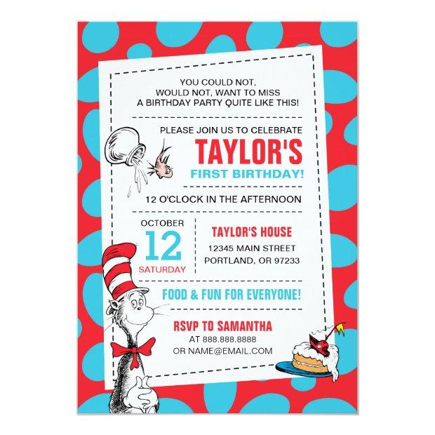 Dr. Seuss | The Cat In The Hat Birthday Invitations