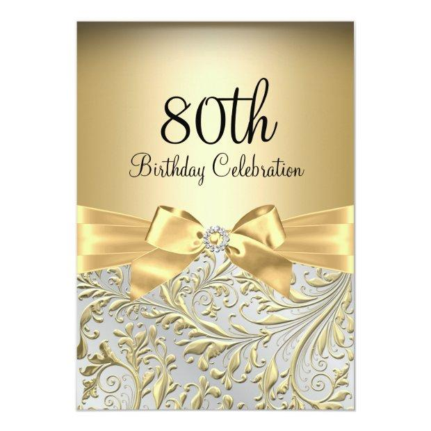 Elegant Gold Bow Floral Swirl 80th Birthday Party Invitation