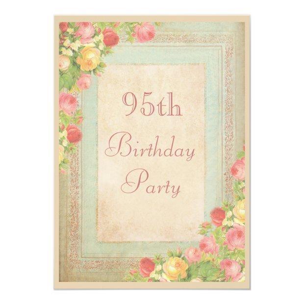 Elegant Vintage Roses 95th Birthday Party Invitations