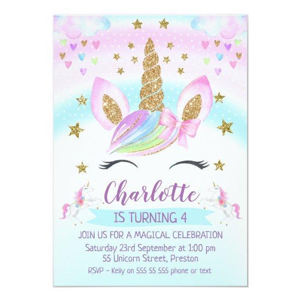 Faux Gold Unicorn Rainbow 1st Birthday Invitation