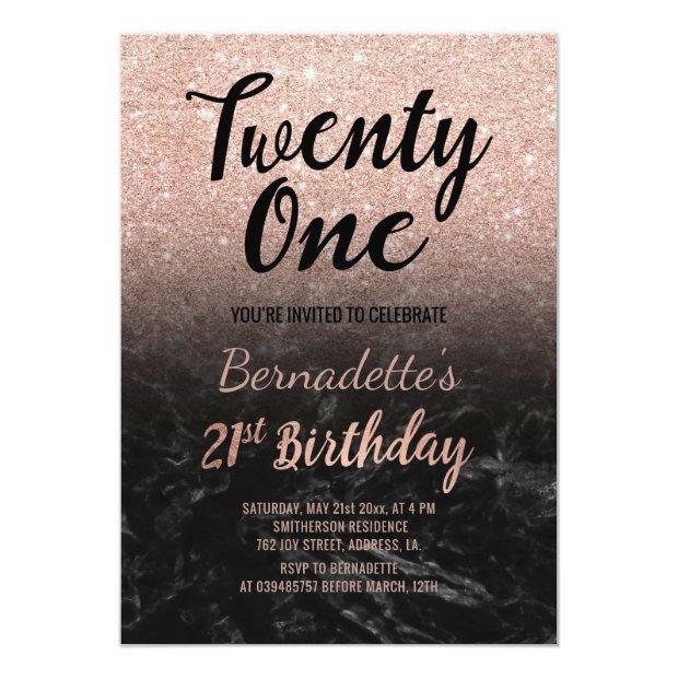 Faux Rose Gold Glitter Black Marble 21st Birthday Invitations