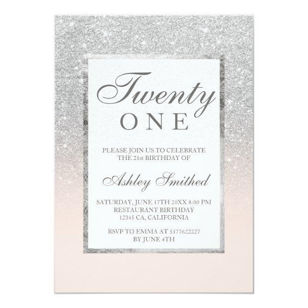 Faux Silver Glitter Elegant Blush 21st Birthday Invitation