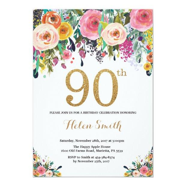 Floral 90th Birthday Invitations Gold Glitter