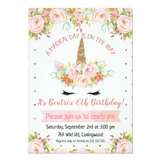 Girls Unicorn Birthday Invitations