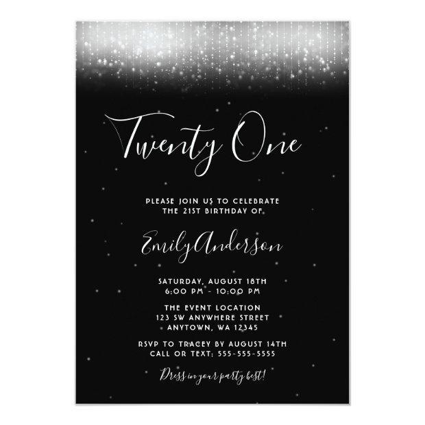 Glam Black And White 21st Birthday Invitation