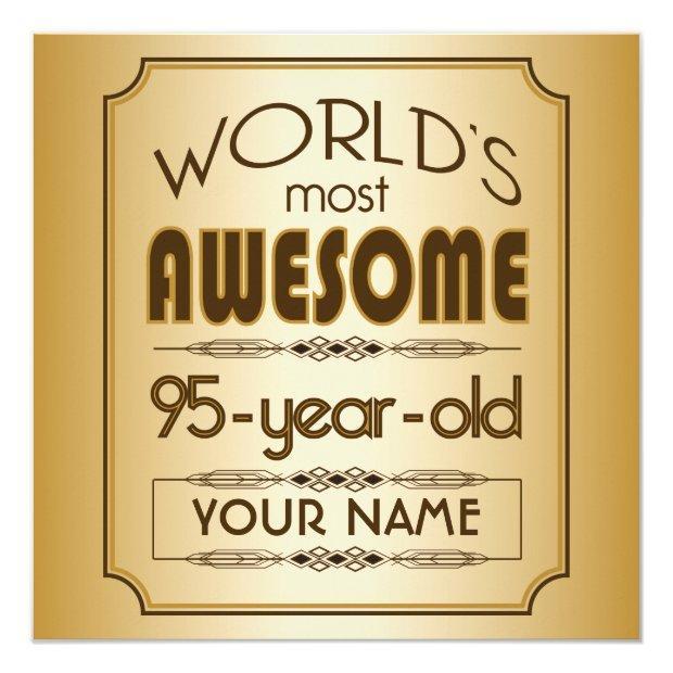 Gold 95th Birthday Celebration World Best Fabulous Invitations