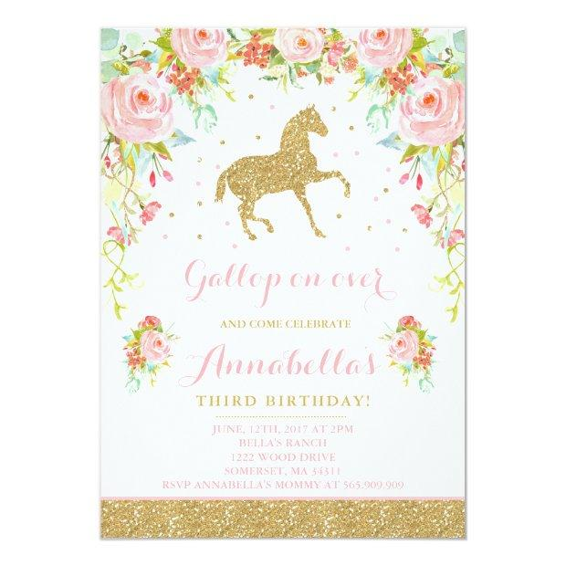 Horse Birthday Invitation Floral Pink Gold Horse