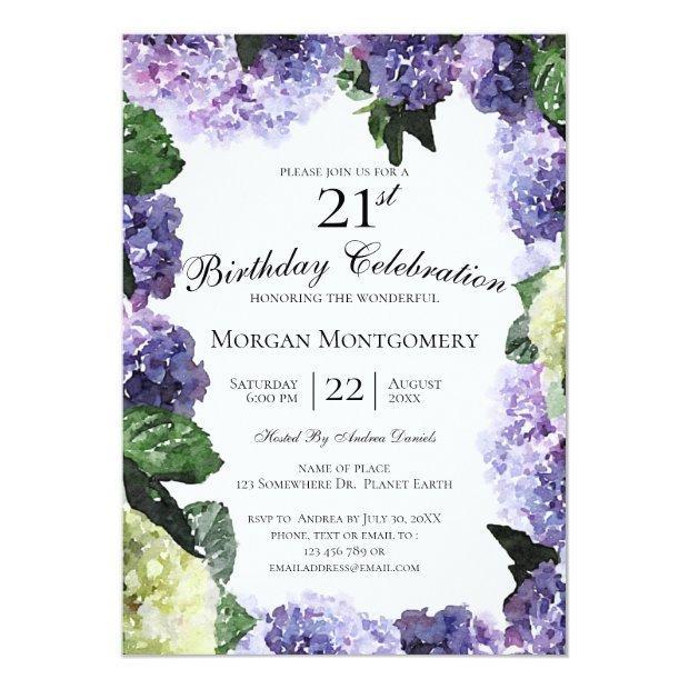 Ivory & Purple Hydrangeas   White 21st Birthday Invitation