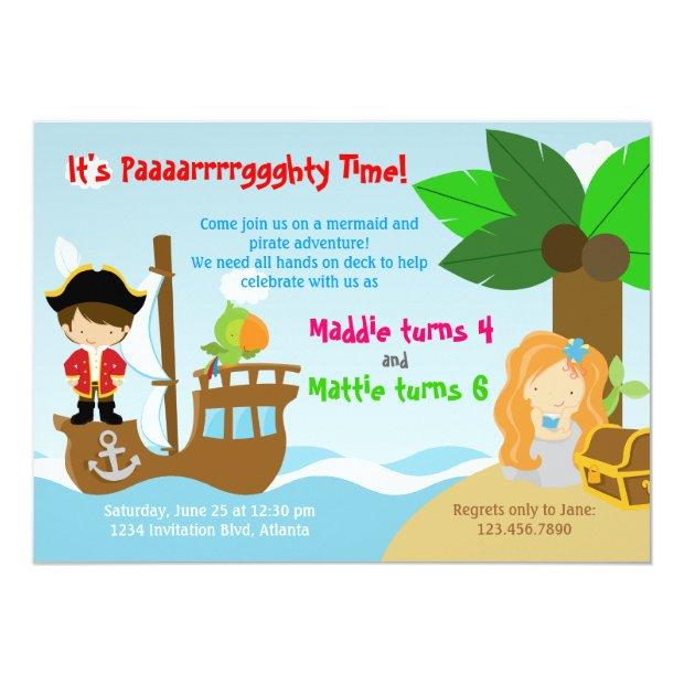 Mermaid And Pirate Twins Joint Birthday Party Invitations