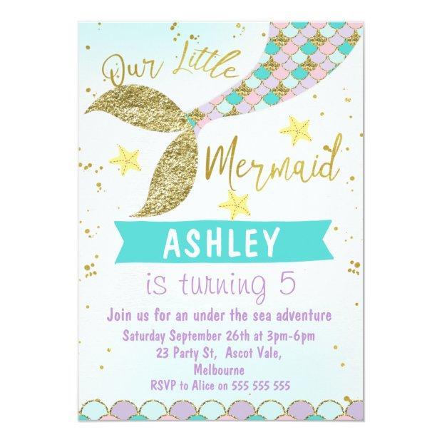 Mermaid Tail Birthday Invitation