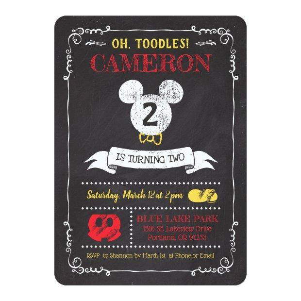 Mickey Mouse Icon Chalkboard Invitations