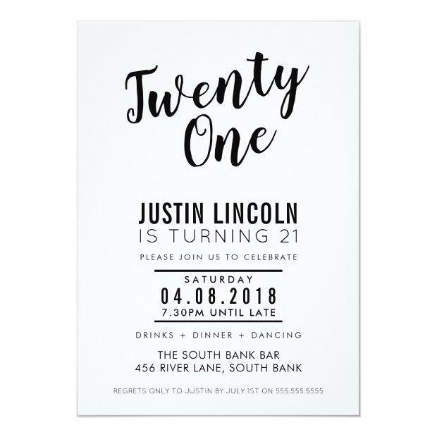 Modern 21st Birthday Party Invite Plain Black