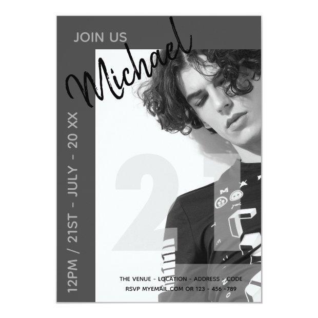 Modern Fun 21st | Birthday Photo Male Invites