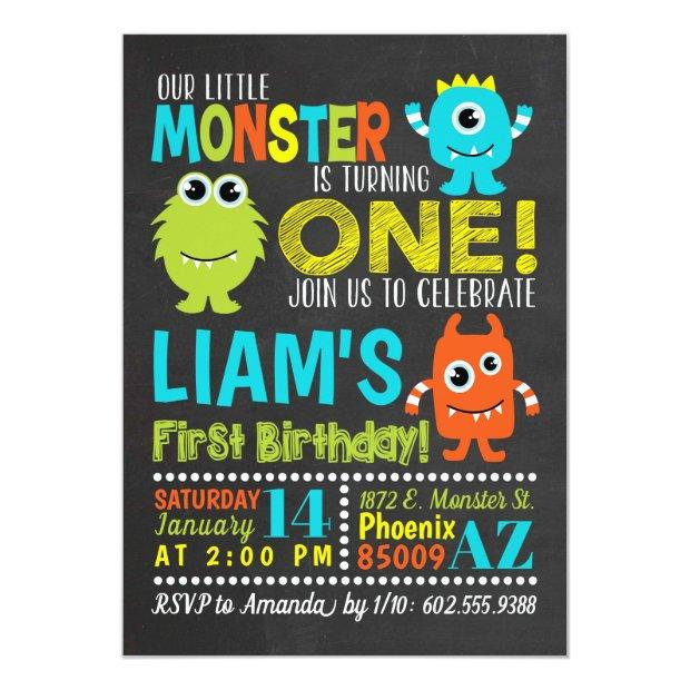 Monster 1st Birthday Party Invitation