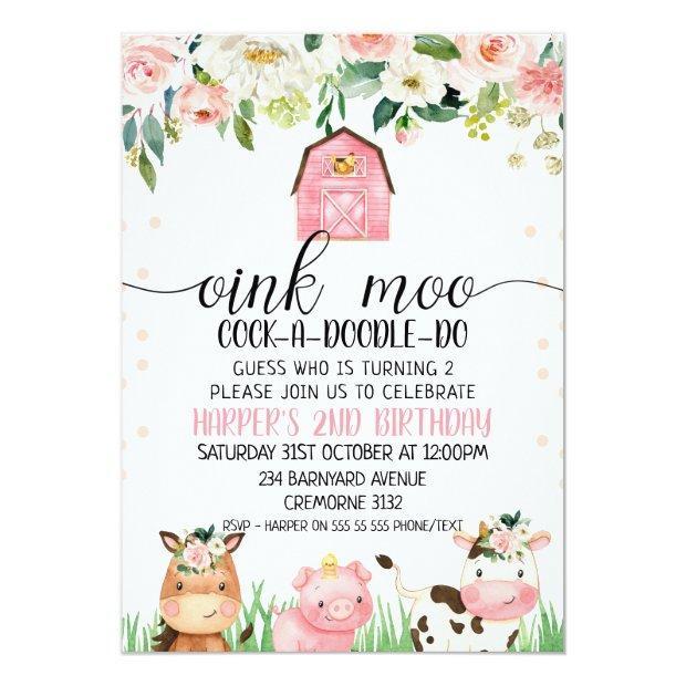 Pink Floral Plaid Farm Animal Birthday Invitation
