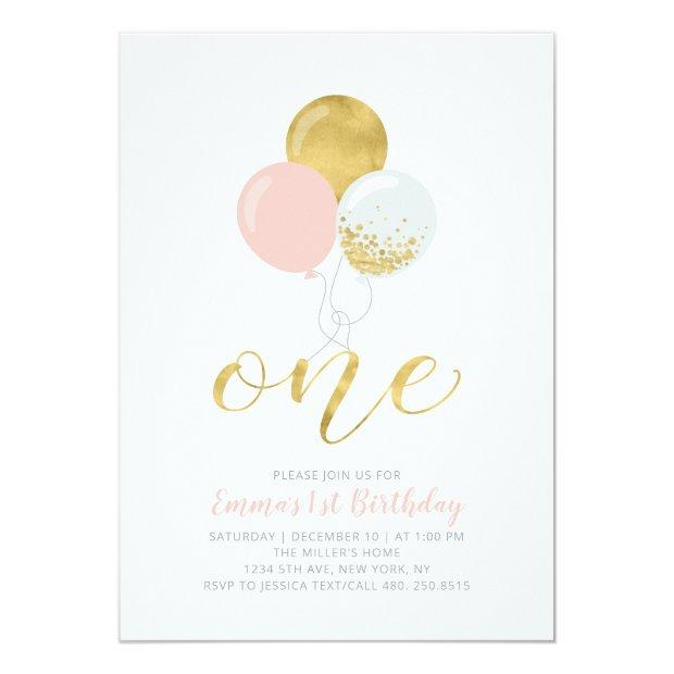 Pink & Gold Balloons | One 1st Girl Birthday Party Invitation