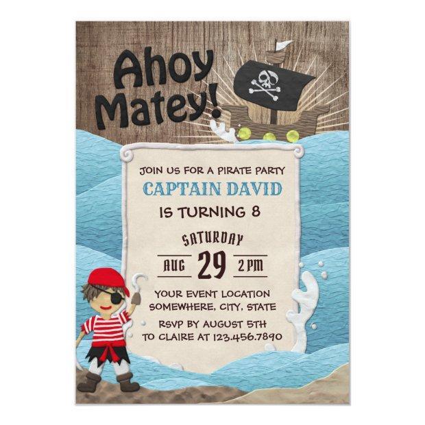 Pirate Captain Ahoy Boy 8th Birthday Party Invitation