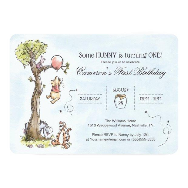 Pooh & Friends Watercolor Tree | First Birthday Invitations