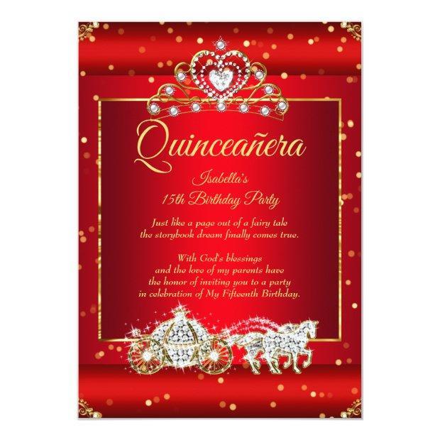 Princess Quinceanera Elite Regal Red Gold Sparkle Invitation