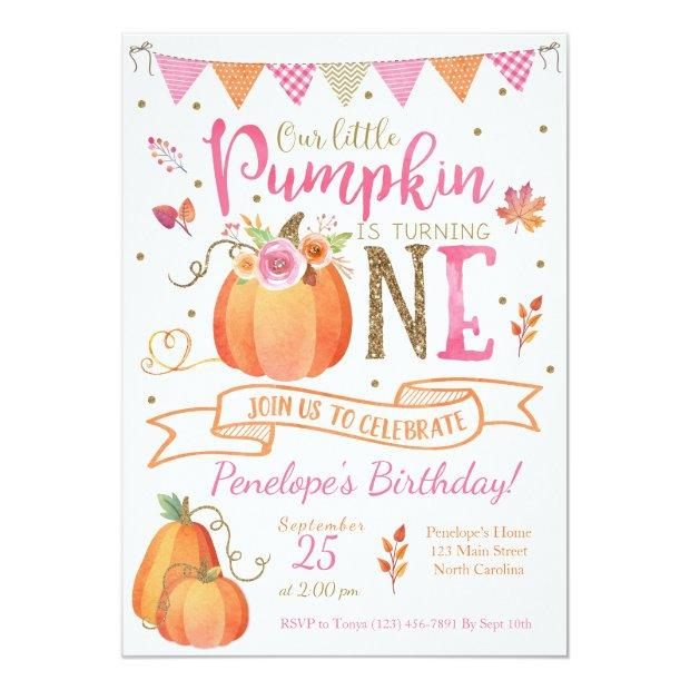 Pumpkin First Birthday Invitation, Autumn Fall Invitations
