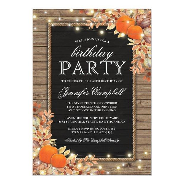 Rustic Country Autumn Fall Birthday Party Invitations