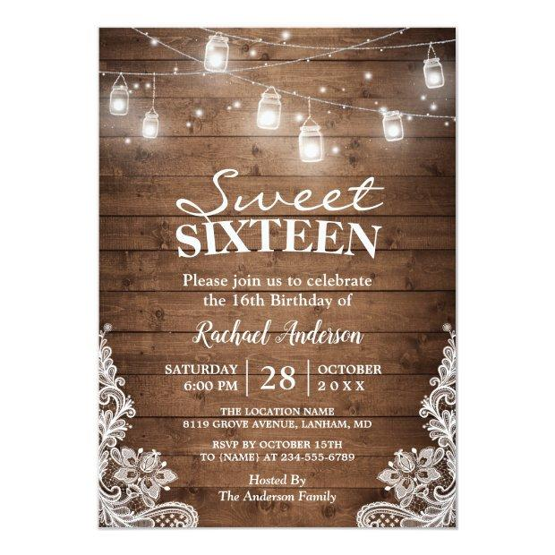 Rustic Mason Jar Lights Sweet 16 Birthday Party Invitations