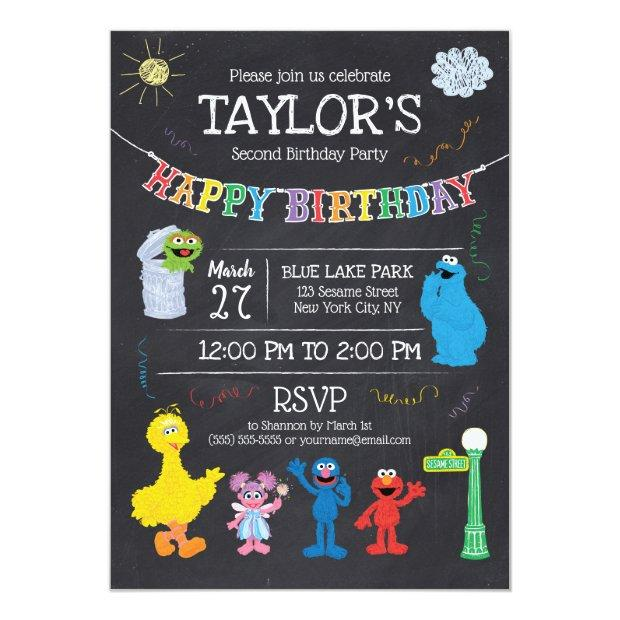 Sesame Street Pals Chalkboard Rainbow Birthday Invitations