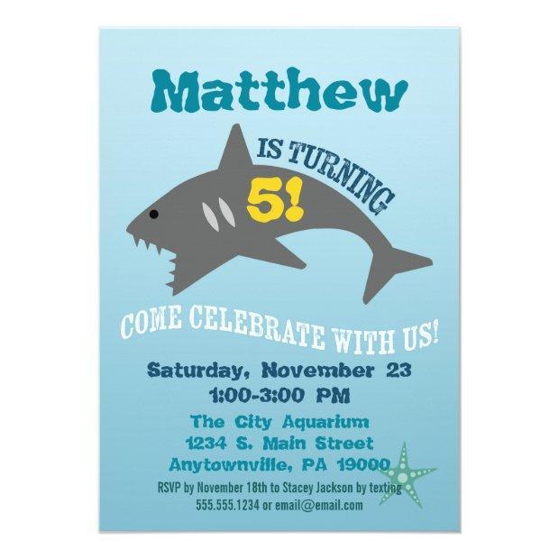 Shark Birthday Invitations Boy Aquarium Invite