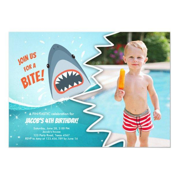 Shark Birthday Pool Party Boy Shark Bite Bait Swim Invitations