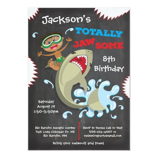Shark Birthday Swimming Pool Party Invitations