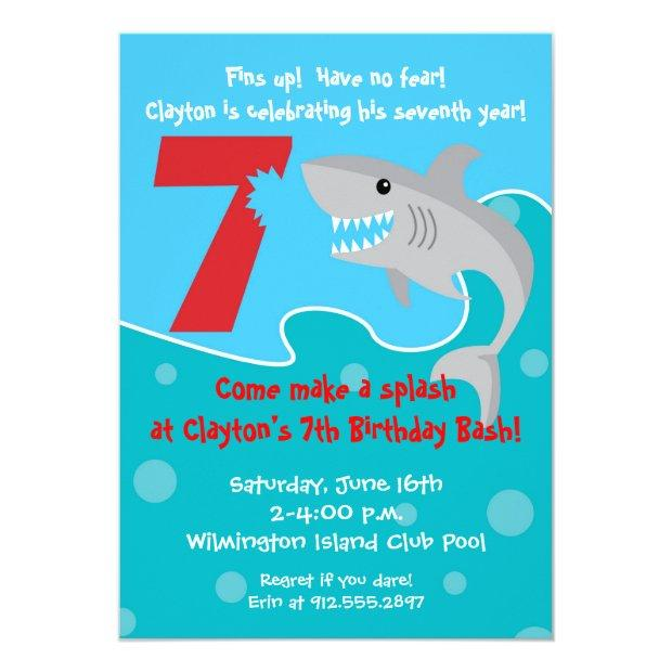 Shark Bite Invite- 7th Birthday Party Invitations