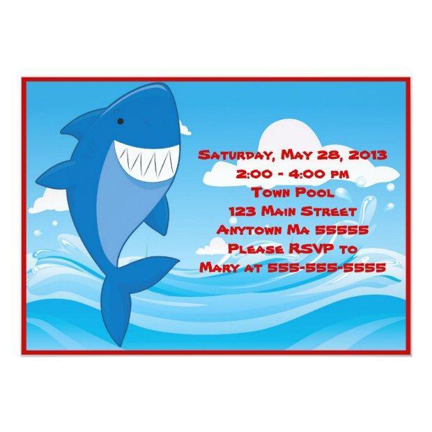 Shark Pool Party Birthday Invitations
