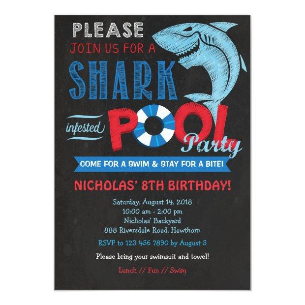 Shark Pool Party Invitation, Shark Invitation
